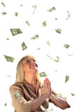 Queda de meia idade da mulher de negócios e do dólar da oração Foto de Stock