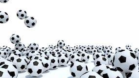 queda de muitas bolas de futebol no fundo branco filme