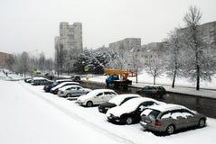 Queda de neve do inverno na capital do distrito de Fabijoniskes da cidade de Lituânia Vilnius Foto de Stock Royalty Free