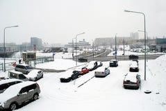 Queda de neve do inverno na capital do distrito de Fabijoniskes da cidade de Lituânia Vilnius Imagens de Stock Royalty Free