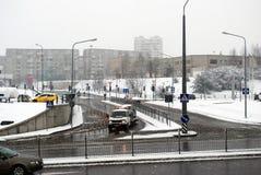 Queda de neve do inverno na capital do distrito de Fabijoniskes da cidade de Lituânia Vilnius Fotografia de Stock