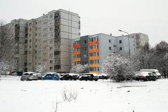 Queda de neve do inverno na capital do distrito de Seskine da cidade de Lituânia Vilnius Fotografia de Stock