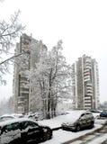 Queda de neve do inverno na capital do distrito de Seskine da cidade de Lituânia Vilnius Imagem de Stock Royalty Free