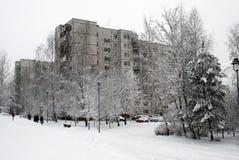 Queda de neve do inverno na capital do distrito de Seskine da cidade de Lituânia Vilnius Imagens de Stock Royalty Free