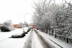 Queda de neve do inverno na capital do distrito de Seskine da cidade de Lituânia Vilnius Foto de Stock