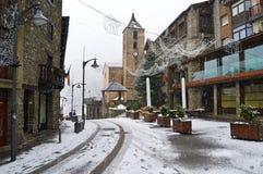 Queda de neve em Ordino, Andorra foto de stock royalty free