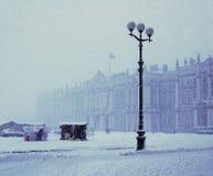 Queda de neve em St Petersburg fotografia de stock