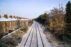 Queda de neve em trilhas Railway de York Foto de Stock