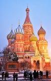 Queda de neve extrema no quadrado vermelho em Moscou fotos de stock royalty free