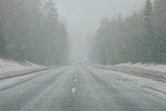 Queda de neve na estrada Imagens de Stock Royalty Free