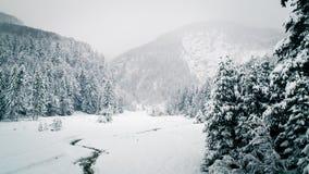 Queda de neve nos cumes italianos Fotografia de Stock