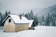 Queda de neve nos cumes italianos Imagem de Stock Royalty Free