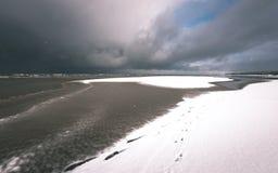 a queda de neve perto do mar no inverno com branco acena o esmagamento - vintage fotos de stock royalty free