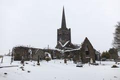 Queda de neve pesada no centro da herança de Athenry foto de stock