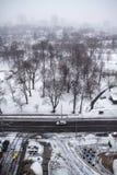Queda de neve pesada no inverno no Midtown Toronto imagem de stock royalty free