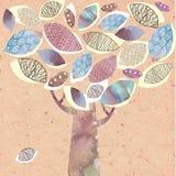 Queda decorativa abstrata estilizado da árvore Imagens de Stock