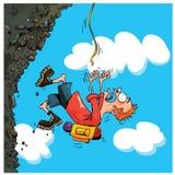 Queda do alpinista dos desenhos animados de uma montanha Fotografia de Stock Royalty Free