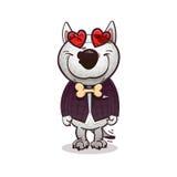 Queda do bullterrier de Cartoony no amor Imagens de Stock
