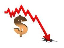 Queda do dólar Fotografia de Stock Royalty Free