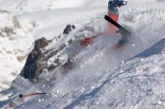 Queda do esquiador Fotografia de Stock Royalty Free