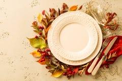 Queda do outono ou projeto de ajuste da tabela da ação de graças Fotografia de Stock