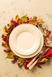 Queda do outono ou projeto de ajuste da tabela da ação de graças Fotos de Stock