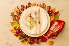 Queda do outono ou projeto de ajuste temperamental da tabela da ação de graças Fotografia de Stock