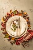 Queda do outono ou projeto de ajuste temperamental da tabela da ação de graças Imagem de Stock Royalty Free
