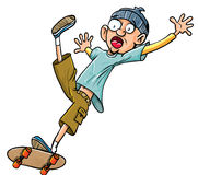 Queda do skater dos desenhos animados de seu skate. Fotos de Stock Royalty Free