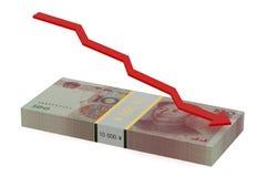 Queda do yuan chinês Imagens de Stock
