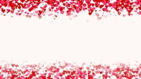 Queda dos corações da parte superior e para assentar-se Animação cor-de-rosa vermelha do amor dos corações espaço vazio no meio M ilustração royalty free