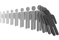 Queda dos povos do efeito de dominó na fileira ilustração royalty free