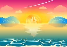 A queda e o crescimento do bitcoin virtual do cryptocurrency são associados com o por do sol e o alvorecer Foto de Stock Royalty Free