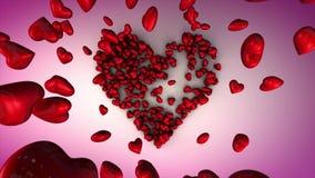 Queda e recolhimento dos corações em uma figura Dia 3D do ` s do Valentim do St vídeos de arquivo