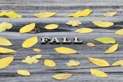 Queda em um fundo de madeira, quadro da inscrição das folhas amarelas imagem de stock royalty free