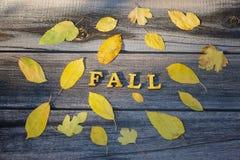 Queda em um fundo de madeira, quadro da inscrição das folhas amarelas foto de stock royalty free