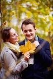 Queda - folha de plátano nova bonito da terra arrendada dos pares Imagens de Stock Royalty Free