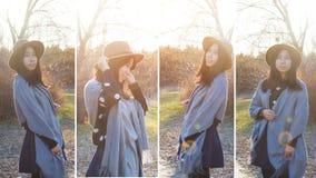 Queda, grupo asiático novo da mulher do outono fotos de stock royalty free