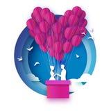 Queda no amor Amantes românticos brancos Balão de papel cor-de-rosa - forma do coração no estilo cortado de papel Dia feliz do Va ilustração royalty free