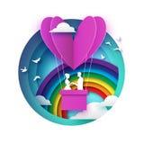 Queda no amor Amantes românticos brancos Hotair de papel do rosa - forma do coração no estilo cortado de papel Dia feliz do Valen ilustração royalty free