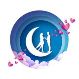 Queda no amor Lua crescente Amantes românticos brancos Estilo cor-de-rosa do corte do papel dos corações Dia feliz do Valentim Fe ilustração do vetor