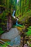 Quedas de conexão em cascata gêmeas da cachoeira mineral sul do paraíso Imagem de Stock