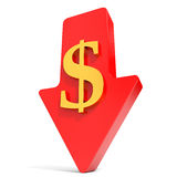 Quedas do dólar seta Fotografia de Stock Royalty Free