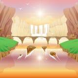 Quedas e ponte do rio Fotos de Stock Royalty Free