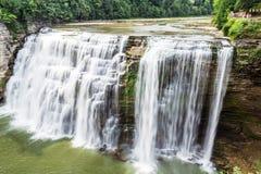 Quedas médias, rio de Genesee, parque estadual de Letchwotth Fotos de Stock