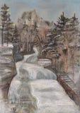 Quedas durante uma estação do inverno ilustração do vetor