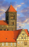 Quedlinburg Castle complex; Quedlinburg, Germany. A closeup on a church tower and upper floors of Quedlinburg Castle complex; Quedlinburg, Saxen Anhalt, Germany Royalty Free Stock Photo