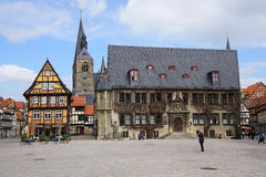 Quedlinburg market square with city hall Stock Image