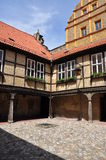 Quedlinburg, Saxony Anhalt, Germany. Burg courtyard. The Unesco listed historic village of Quedlinburg, Saxony Anhalt, Germany. Old half timbered houses in the Royalty Free Stock Photo