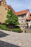 Quedlinburg, Saxony Anhalt, Germany. The Burg. The Unesco listed historic village of Quedlinburg, Saxony Anhalt, Germany. Old half timbered houses in the town Royalty Free Stock Image